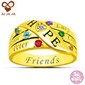 AIJAJA 925 Sterling Silver Birthstones Names Engraved Rings for Women Personalise up to 6 Names Engraving Friends Family Rings
