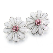 Crystal flower 18mm metal snap button for charm bracelet women's fashion DIY  jewelry Watches women one direction 060205