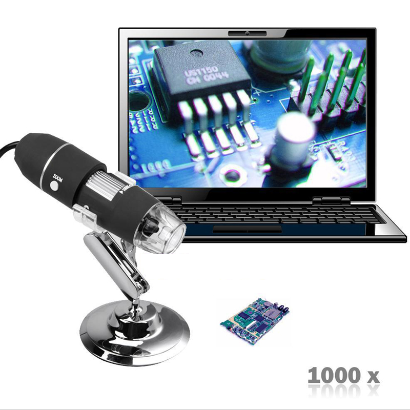 Commercio all'ingrosso 500x 800x 1000x Microscopio Digitale USB 2MP 8 LED Base Treppiede Mini Macchina Fotografica LED per mac Sistema Finestra Elettronico