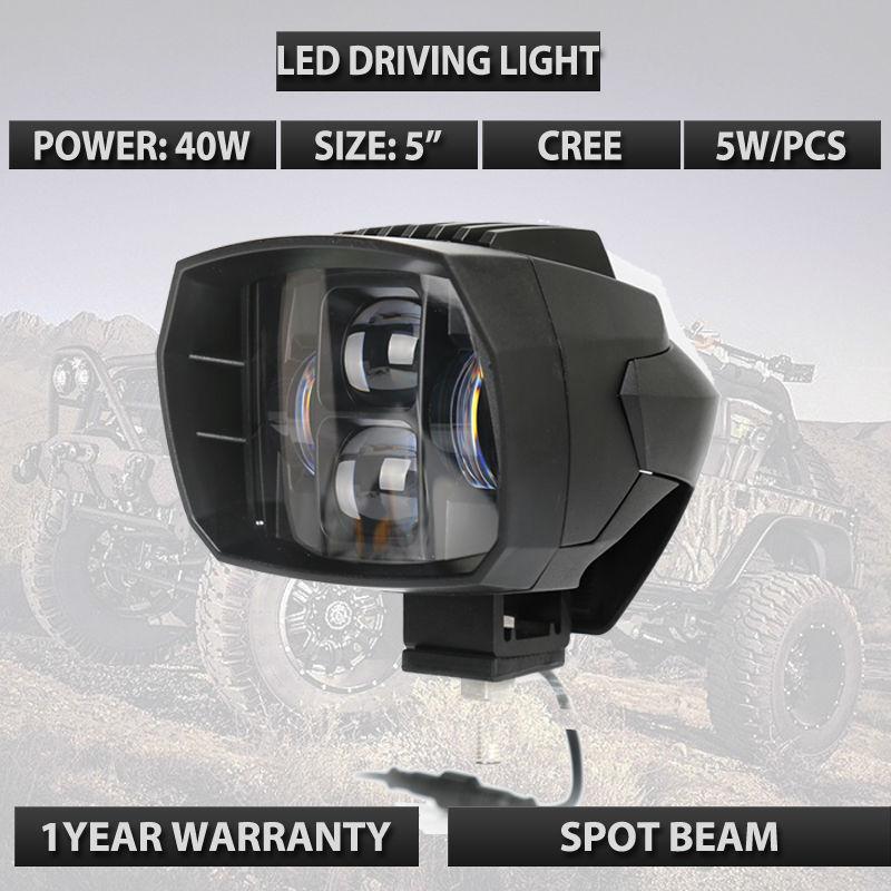 Черный 40W светодиодные фары мотоцикла светодиодные фары 5 Сид вспомогательный луч работы света вождения используемые для ATV внедорожник грузовик