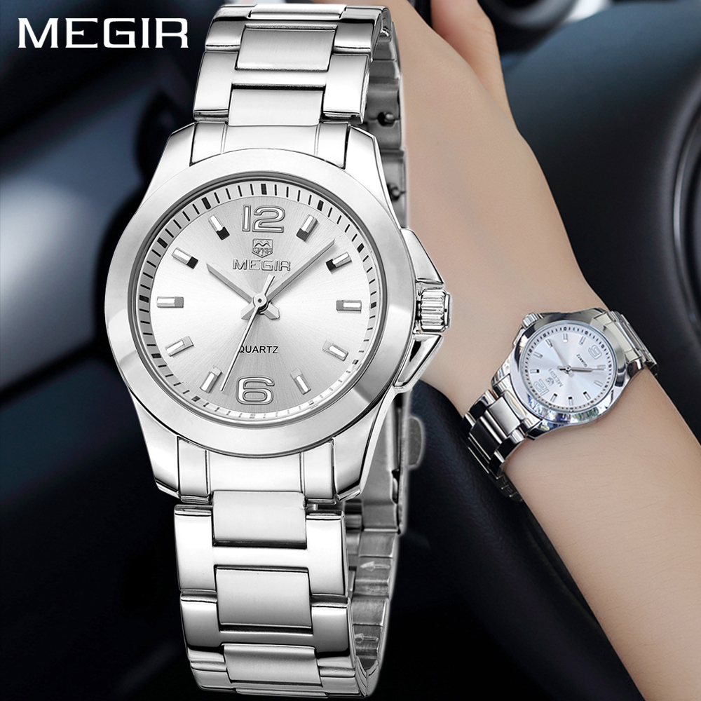 MEGIR Fashion Luxury Women's Watches Ladies Silver Gold Bracelet For Women Steel Quartz Wrist Watch Women relogio feminino saat