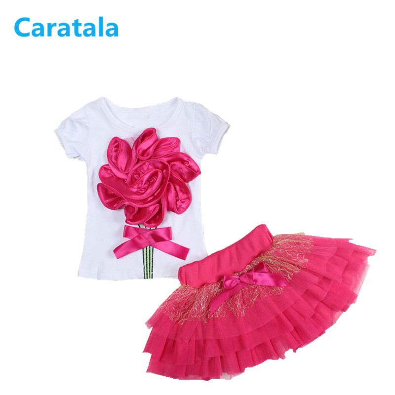 Caratala Retail 1-2 years Baby girls suit set 100% Cotton Flowers Vest + Tutu Skirt 2 pieces set