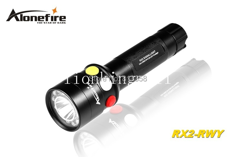 AloneFire RX2-RWY CREE XP-E Q5 LED Red White Yellow light Multi-function signal lamp flashlight torch