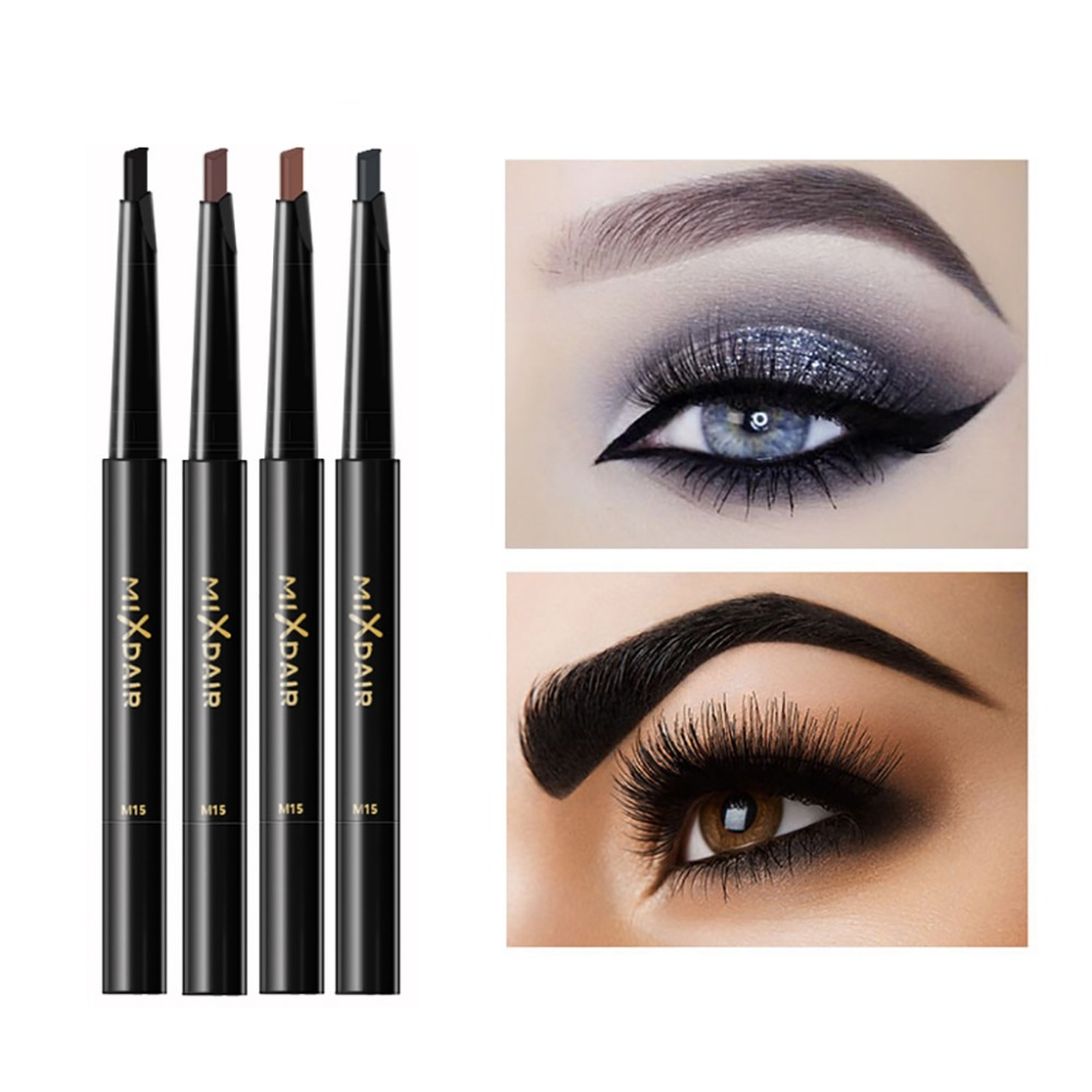 MIXDAIR automatic eyebrow pencil with eyebrow brush waterproof Triangular head dark color black brown eyebrow drawing pen MD008