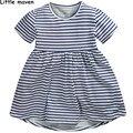 Little maven crianças roupas de marca 2017 novo verão do bebê meninas roupa dos miúdos do algodão listrado vestido l019