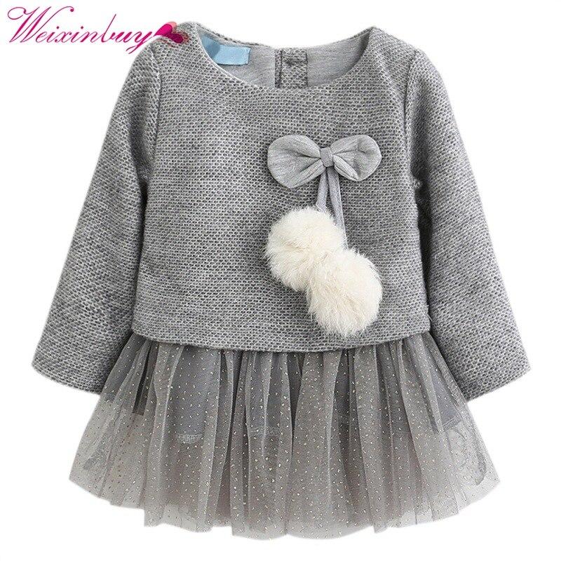2018 Winter Baby Girls Dress Long-Sleeve Princess Dress Ball Of Little Kids Clothes Children Party Cute Autumn Dresses M1