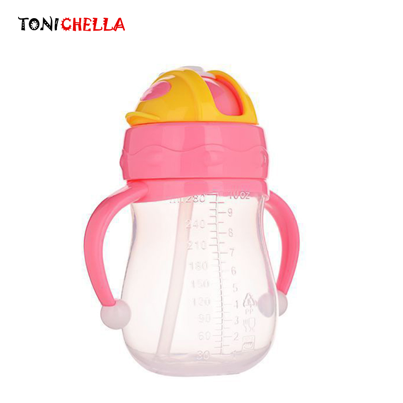 Infants Portable Double Handle <font><b>Baby</b></font> Leak-<font><b>poof</b></font> Anti Fall Milk Cups Learn Drinking Bottles With Silicone Straw T0385 image
