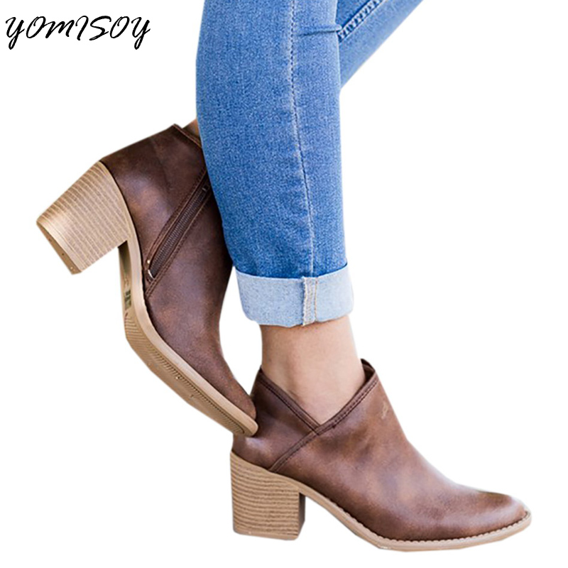 9de414f89710 2018 Womens Side Zip Chunky Booties Low Heel Closed Toe Faux Stacked Ankle  Bootie-in Ankle Boots from Shoes on Aliexpress.com