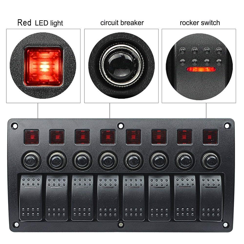 3 PIN 8 Gang Switch Panel Waterproof 12V ~24V Car Auto Boat Marine Red LED Rocker Switch Panel Circuit Breakers With Fuse 6gang red led yacht rocker switch panel waterproof car rv marine boat switches 12v 24v yacht refit accessories