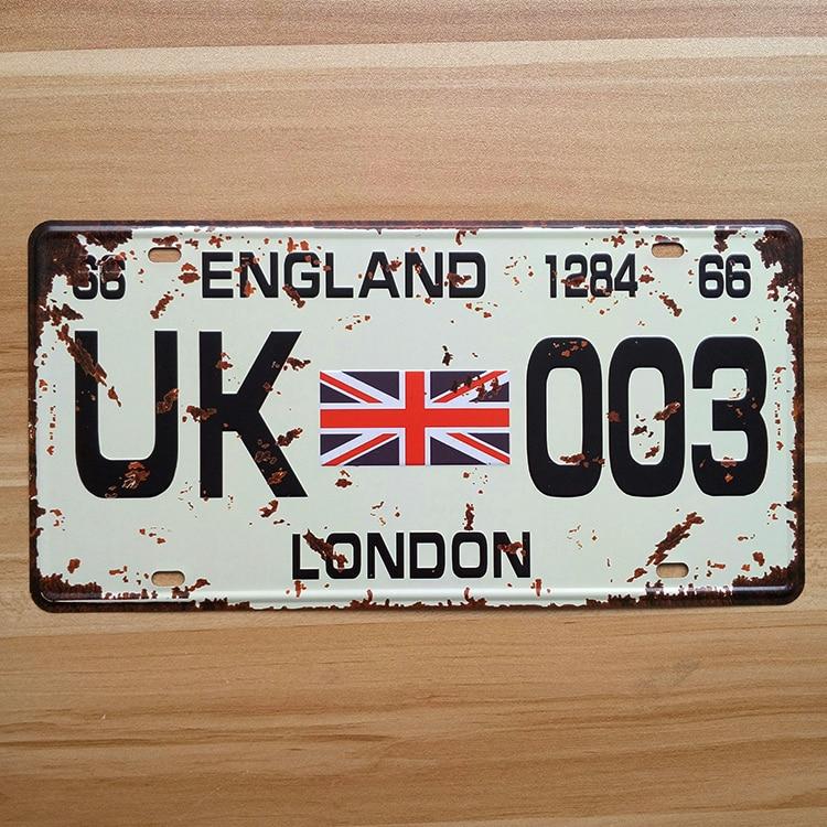 Hot Sale Rz1530 268 Vintage License Plate Uk003 Metal Signs Home Decor Office Restaurant Bar