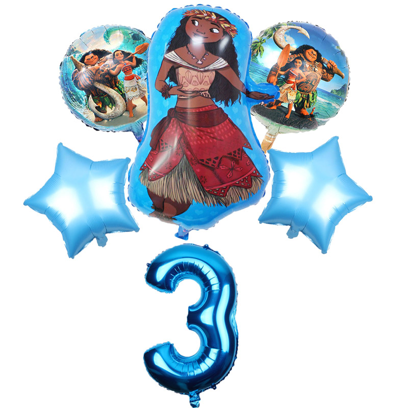 Image 4 - 5 pcs/lot Moana balloons 32 inch Number moana party supplies moana theme birthday party decoration kids toys globo girls gifts-in Ballons & Accessories from Home & Garden