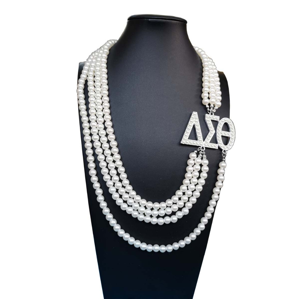 Topvekso Grecia hermandad Africana blanco perla DST Multilayer declaración joyería Delta Sigma Theta collar de perlas