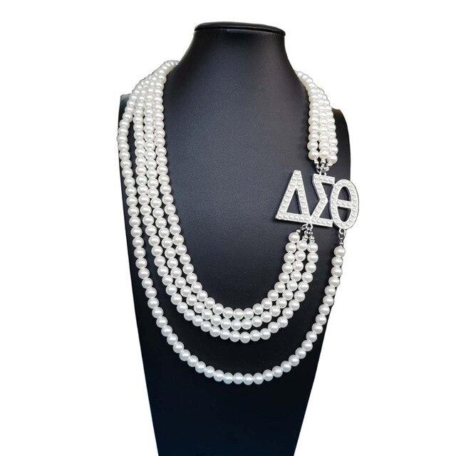 5fd1f67a59c3 Topvekso Grecia hermandad Africana blanco perla DST Multilayer declaración  joyería Delta Sigma Theta collar de perlas