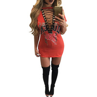 Summer Women T Shirt Mini Dress 2017 New Print Sexy Short V Neck Lace Up Bodycon