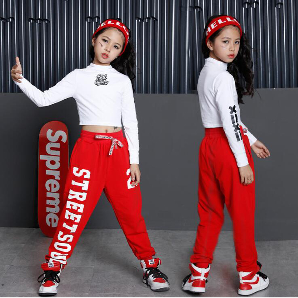 Fête des enfants spectacle Performance Costumes enfants vêtements Hip Hop Dancewear tenues filles moderne Jazz danse Costumes ensembles Top + pantalon - 3
