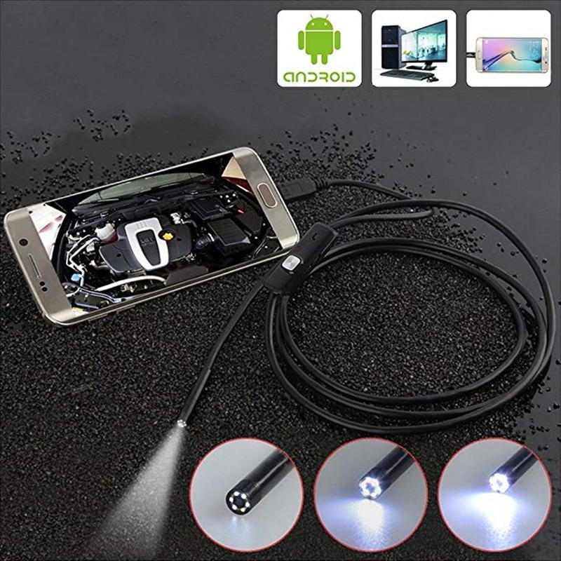 480P Android Endoscope Camera Inspection Camera 1m 2m Wire Borescope 6 Leds light USB Endoskop Camera
