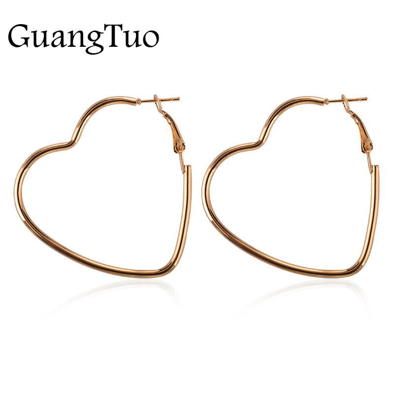 EK2095 New Fashion Hollow Peach Heart Earring Metal Plating Ornaments Simple Dangle Earrings For Women Copper Brincos Jewelry