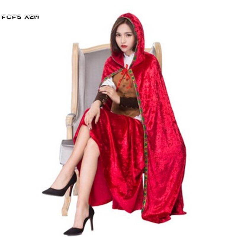 Haute qualité Halloween petit chaperon rouge Costumes pour femme femme noël Cosplays carnaval pourim fête scène spectacle robe