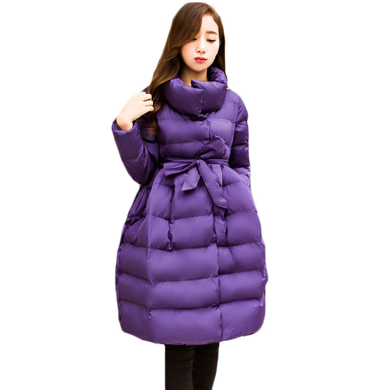 Keep Warm Winter Coat Women Stand Collar Single Breasted Long Jacket Coat Outerwear Ladies A line Solid Black Purple Parka XH960