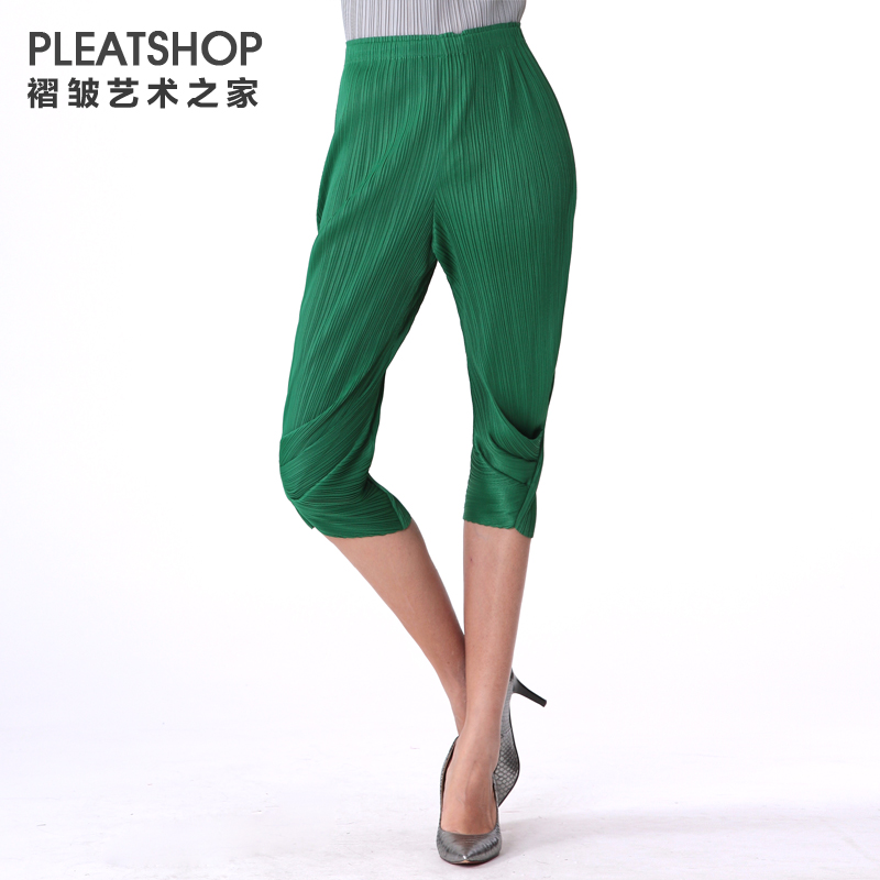 Miyake  pleated all-match pleated capris solid color slim pant pencil pants female fold pant 3D trousers free shipping