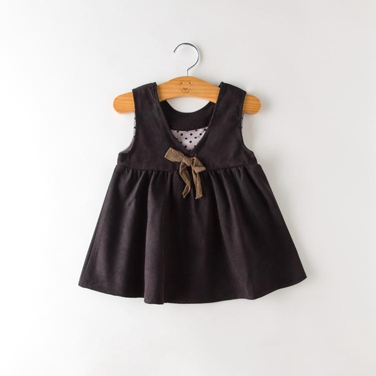 Baby Girl Vest Dress Spring Autumn Cute Sleeveless Girls Clothes Cotton Sundress Vest Kids Bow Dresses for Girls 1-5Years girls floral summer dresses baby clothing girl dress print sundress children cotton clothes flower dresses sleeveless dress 4 14