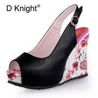 Floral Print Wedges Heel Sandals Summer Shoes Woman Buckle Strap Slingbacks Platform Thick Bottom High Heels Sandals Women E02