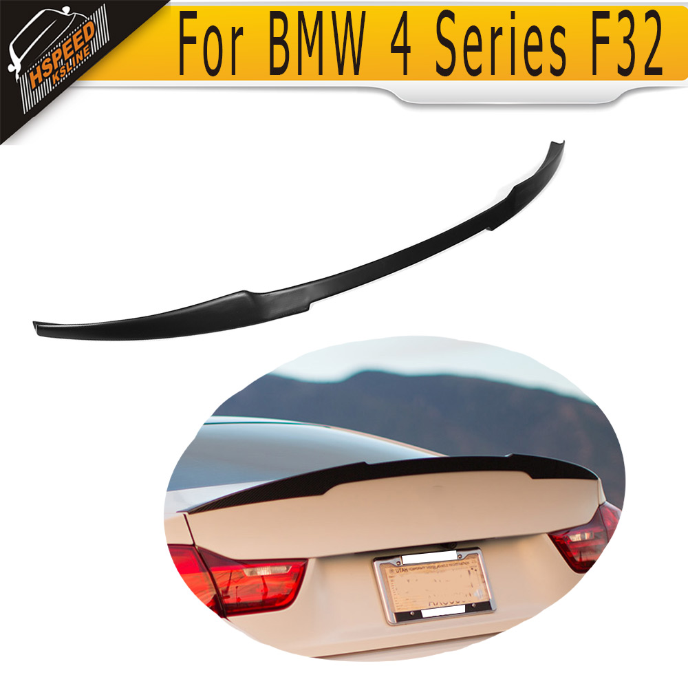 Black FRP Rear Trunk Spoiler Wing For BMW 4 Series F32 F33 428i 435i xDrive Gran Coupe 2014 2015 M4 Style NON M4 f32 carbon fiber back rear trunk m4 style spoiler wing for bmw 4 series f32 coupe 2014 2015 435i 420i 428i