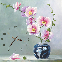 Creative 3D Flower Vase Embroidery Wall Clock DIY Clock Watch Home Decor Needlework Embroidery Full Squarel Clocks Wall
