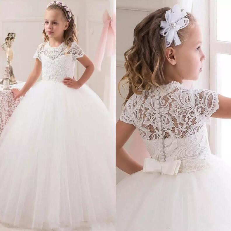 New Ball Gown Flower Girls Dresses For Weddings 2017 Tulle Little Kids Dresses Formal Lace First Communion Dress princess ball gown red lace flower girls dresses for weddings birthday communion kids stage performance