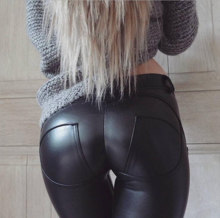 EOEODOIT S-<font><b>6XL</b></font> Women Leather Leggings Waist X Elastic Trousers Pocket Hip Push Up <font><b>Sexy</b></font> Female Casual Party Club Pencil Pants image