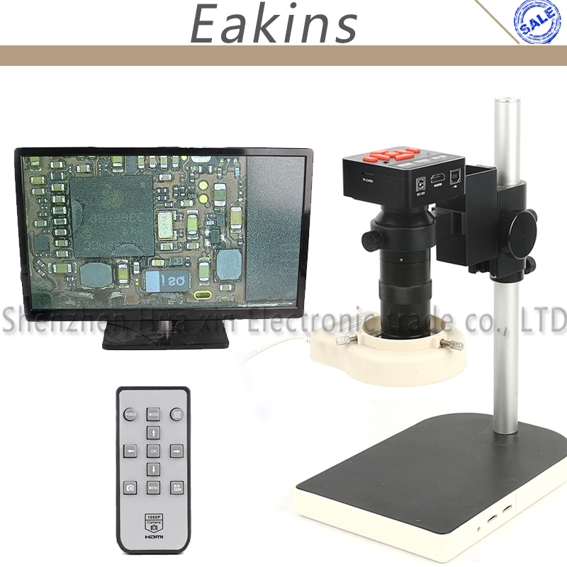 IR Digital 1080P 16MP HDMI USB HD 100X Industrial Electronic Video Recorder Microscope Camera Set For Lab Phone PCB Soldering ir digital 1080p 16mp hd hdmi usb industrial video recorder microscope camera 130x lens 56 led light for lab phone repair