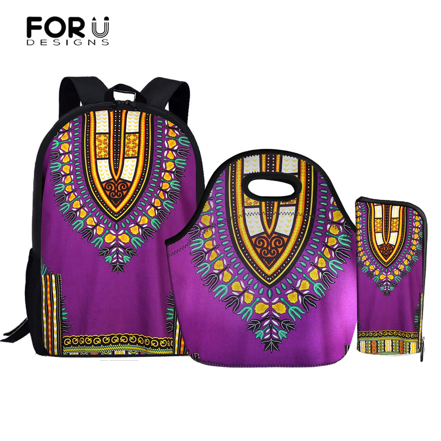 FORUDESIGNS Children School Bags for Girls Backpack African Printing Backpacks Set Schoolbag kids Primary School Backpack Women