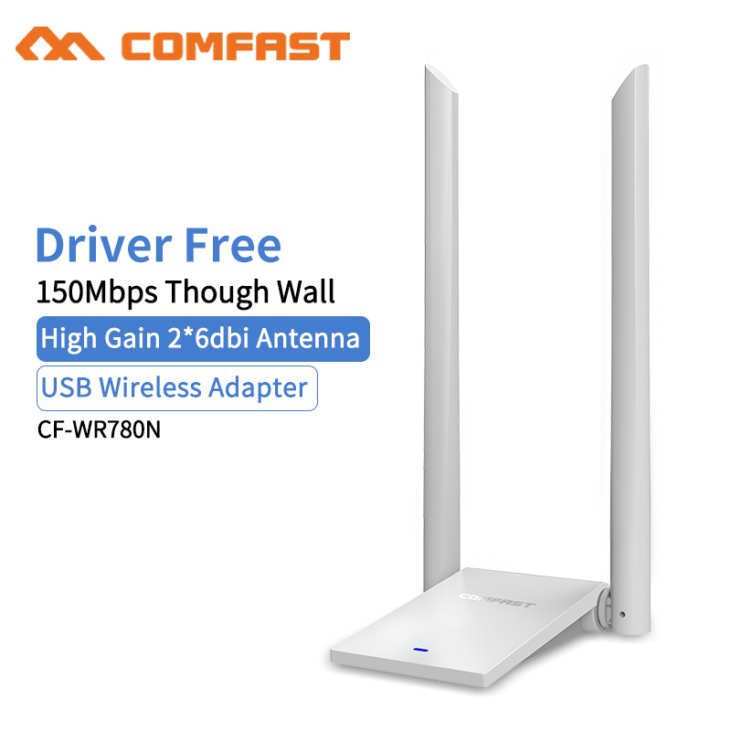Comfast 150Mbps USB WiFi Adapter 2.4Ghz USB 802.11b/g/n 2*6dbi WiFi Antenna High power Through PC Wi-Fi Receiver Windows 7 8 10 comfast cf wu730a 2 4ghz 802 11b g n 150mbps usb 2 0 wireless wi fi network adapter white black
