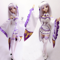 Accept Custom COS Re:Life in a different world from zero Emilia Cosplay Suit For 1/3 BJD SD DD DDL Doll Clothes