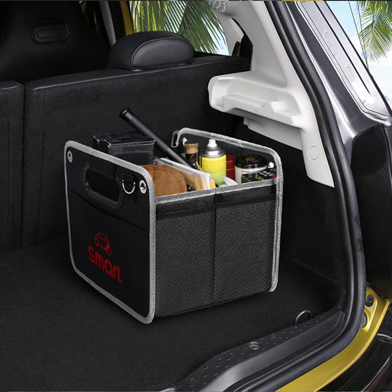 Foldable black storage box bag Oxford cloth storage bag for Smart Fortwo Forfour 453 451 logo car model car accessories net bag