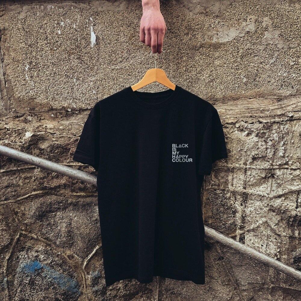 Aesthetic Casual Short Sleeve Tee Black Is My Happy Colour T Shirt I Woke Up Tumblr 483 484 485