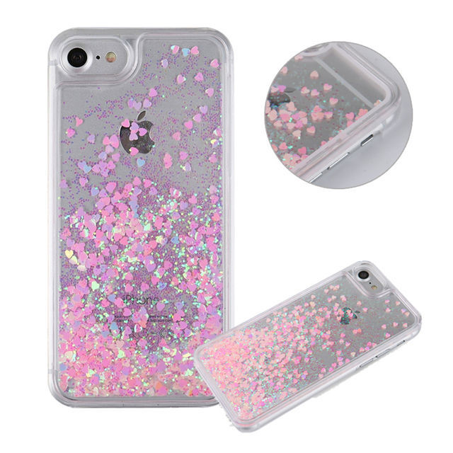 Hot Clear Liquid Glitter Sand Fluorescent Love Heart Case for iPhone