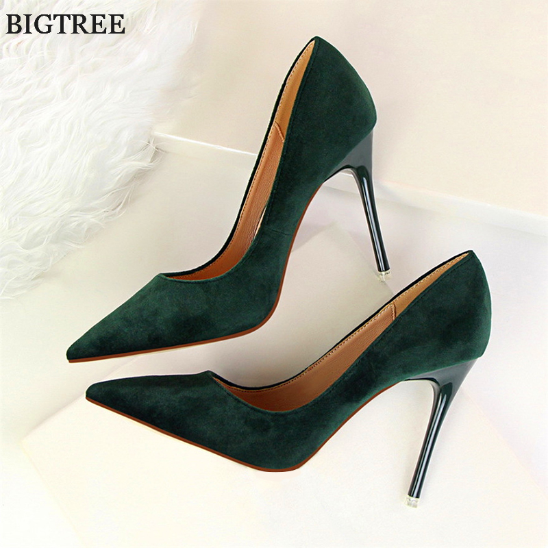 Fashion Women's High Heels Shallow Office Shoes New Arrival  Solid Flock Pointed Toe Women Pumps Super High Sexy Shoes 9 Colors