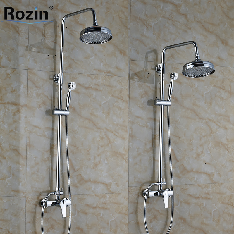 Polished Chrome Wall Mounted Shower Faucet Complete Set Single Handle 8 Brass Rainfall Shower Mixer with Handshower polished chrome wall mount temperature control shower faucet set brass thermostatic mixer valve with handshower