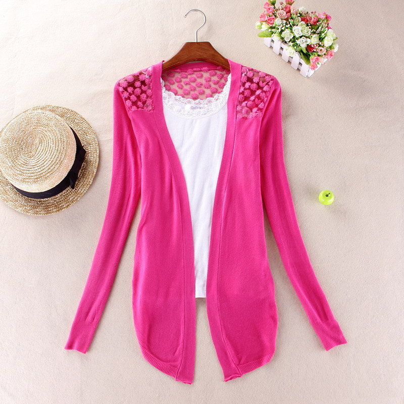 2018 Long Back Lace Cardigan Sweater Women Wool Long Sleeve Open Stitch Knitted Lady's Sweater Cardigans V Neck Jacket Coat