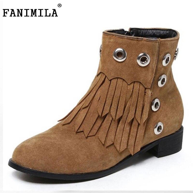 FANIMILA Size 33-42 Ladies Low Heels Mid Calf Winter Boots Women Round Toe Tassels Zip Shoes Women Warm Botas With Thick Fur