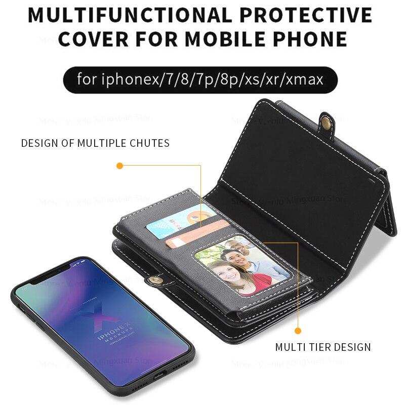 Plusieurs Porte-Cartes Portefeuille Téléphone Portable D'adsorption étui de protection Pour iPhone XS Max XR Housse En Cuir Pour iPhone 8 7 Plus X Cadeau