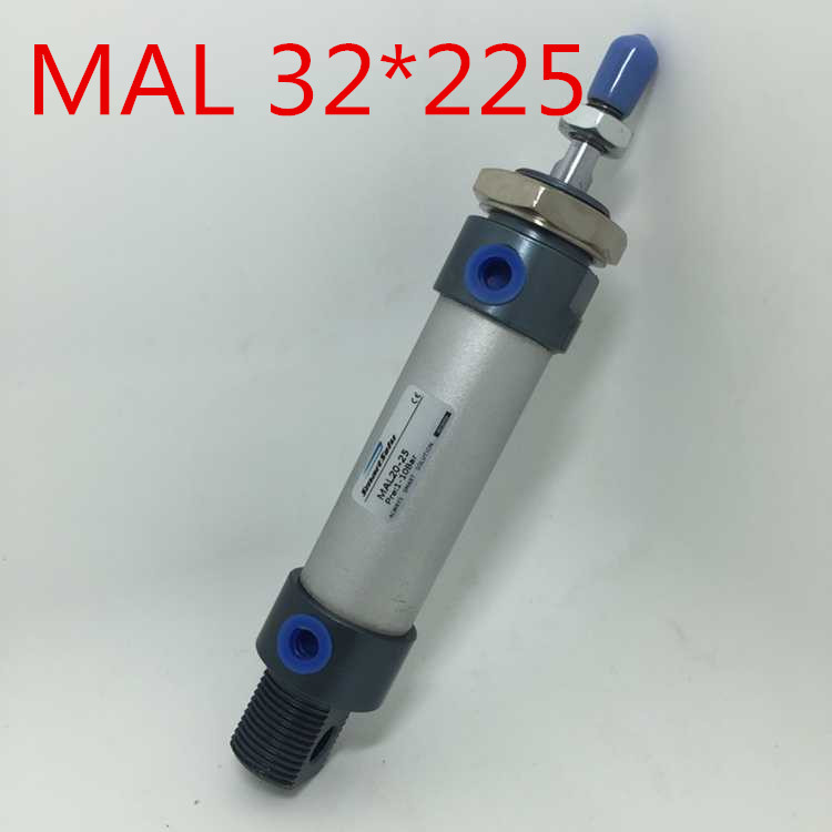 Free Shipping MAL Series 32MM Bore 225MM Stroke Aluminium Alloy Pneumatic Mini Air Cylinder , 1/8 Port Double Acting 32x225 mm