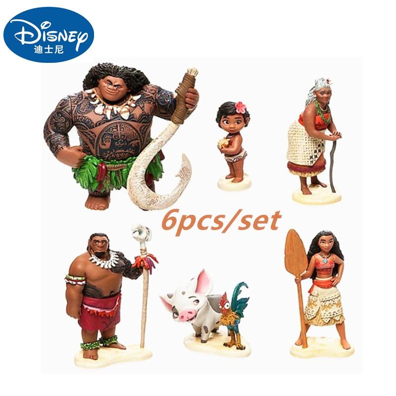 Disney Moana Princess Toy 6 Pcs / Set Vaiana Boneca  Cosplay Adventure Model Cartoon Movie Moana Doll Anime Figure Toy Gift