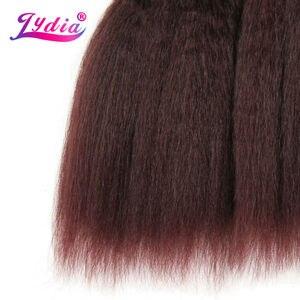 Image 4 - לידיה לנשים שחורות שיער סינטטי הארכת שיער אריגה ישר קינקי צבע טהור 10 Inch גל 3 יח\חבילה חבילות שיער