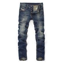 Высокое качество, лидер продаж, модные брендовые мужские джинсы, прямые темно-синие джинсы с принтом, мужские рваные джинсы, джинсы высокого качества