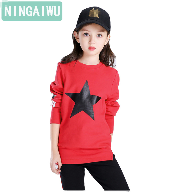 Children's clothing cotton girls Hoodies Sweatshirts long-sleeved fashion tops kids leisure T-shirt spring big Girl's blouse