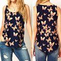 2017 Summer Women Butterfly Print Sleeveless Chiffon Tank Top Shirts Crew Vest Shirt
