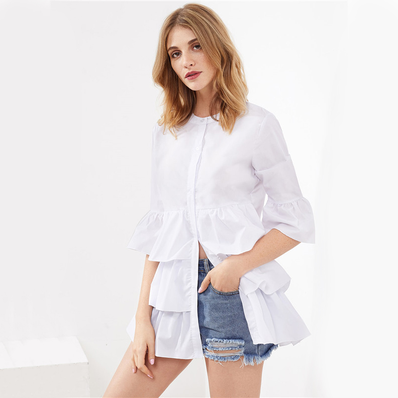 HTB1dLSyRVXXXXXKXFXXq6xXFXXXi - Frill Trim Shirt White Button Up Blouse JKP070