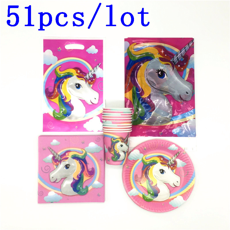 51pcslot Theme Unicorn Gift Bags Tablecloth Decoration Napkins Happy Birthday Party Cups ...